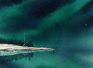 "commissioned watercolor piece ""northern lights getaway"""