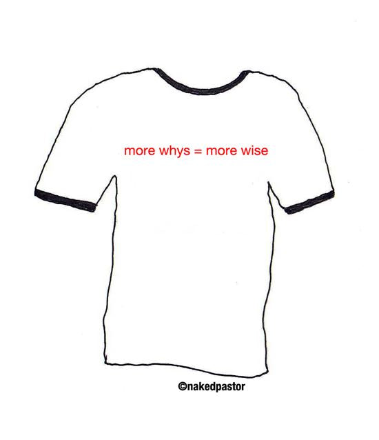 "cartoon: T-shirt idea ""whys"""