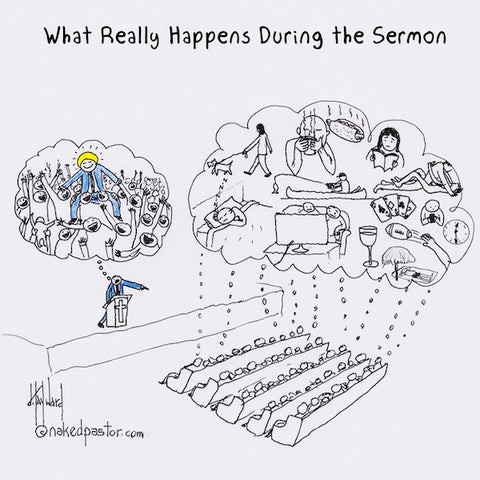 """During Sermon"" cartoon by nakedpastor David Hayward"