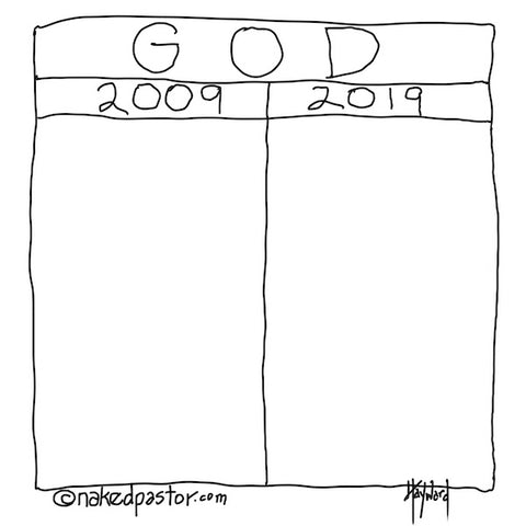 """God #2009vs2019"" cartoon by nakedpastor David Hayward"