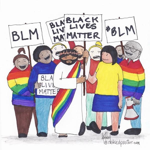Jesus at a Black Lives Matter march with a rainbow LGBTQ+ sash