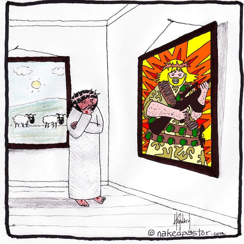 """Jesus War Portrait"" cartoon by nakedpastor David Hayward"