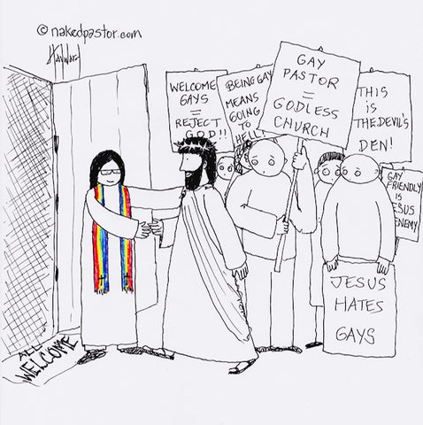 a truly welcoming church cartoon by nakedpastor david hayward