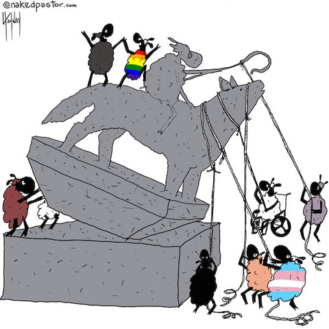 """Statue Toppling Sheep"" cartoon by nakedpastor David Hayward"
