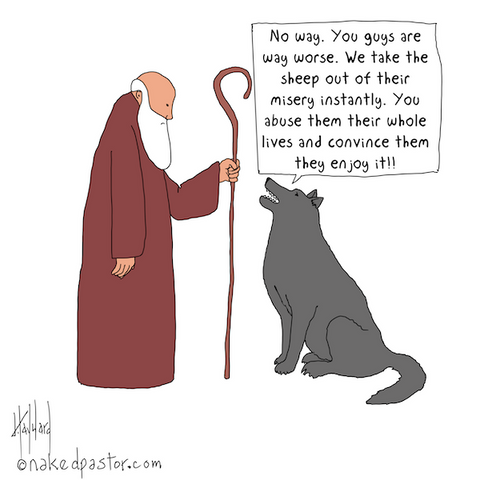 """The Wicked Shepherds""  cartoon by nakedpastor David Hayward"