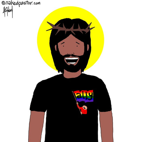 jesus wears nakedpastor's ally tee cartoon by nakedpastor david hayward