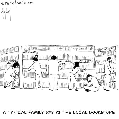 A Family at the Bookstore CARTOON