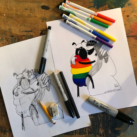 Jesus and the Rainbow Sheep Selfie Original Cartoon Drawing