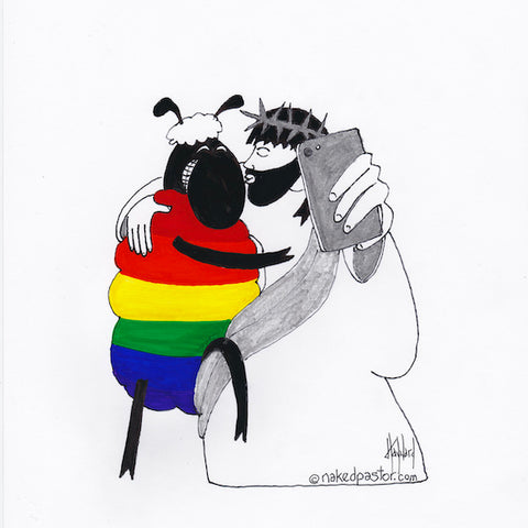 Jesus and Rainbow Sheep Selfie CARTOON
