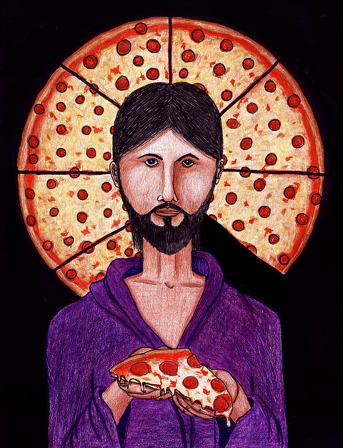 """The Pizza Christ"" drawing FINE ART PRINT"