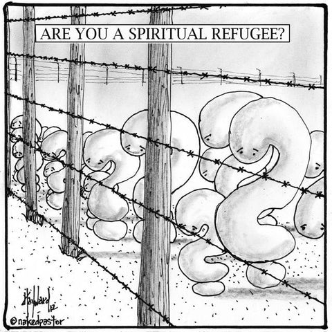 Are You a Spiritual Refugee Fine-Art REPRODUCTION cartoon PRINT