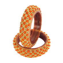 Load image into Gallery viewer, Designed Flower Pattern Glass Bangles/Kada/Bala Pair