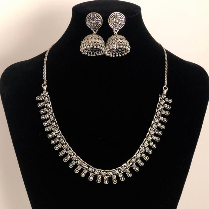 Silver Oxidised Necklace Set (Silver Cross Jhumka)