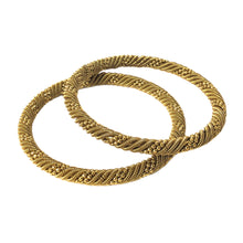 Load image into Gallery viewer, Oxidised Golden bangles Pair (Spiral vine)