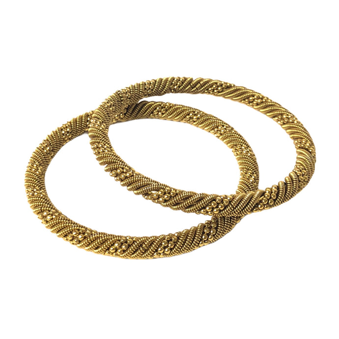 Oxidised Golden bangles Pair (Spiral vine)