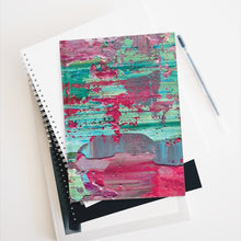 Load image into Gallery viewer, Wet Paint Design in Turquoise and Magenta Hardcover Journal - with 128 Blank Pages 5x7.25 inch