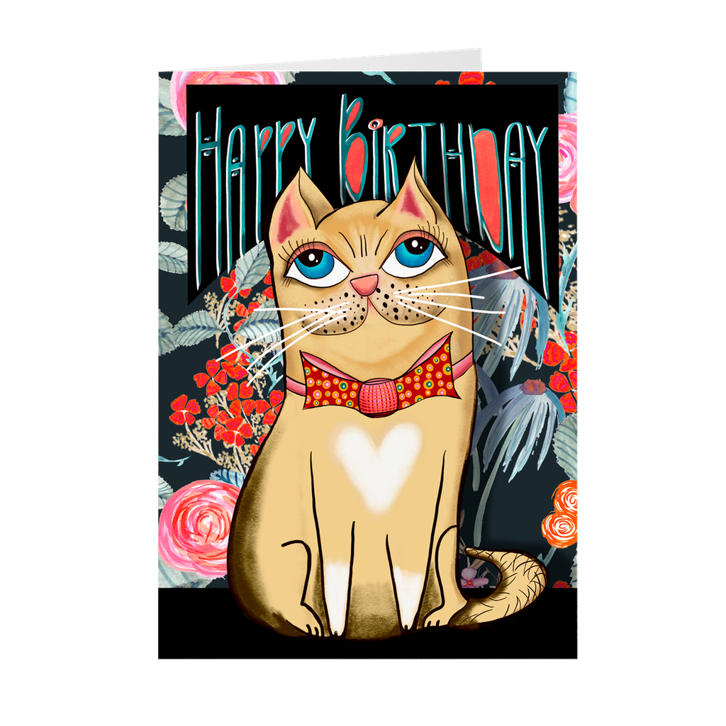 Happy Birthday From The Cat Greeting Note Card with Blank Inside 5x7 inches Matte Finish