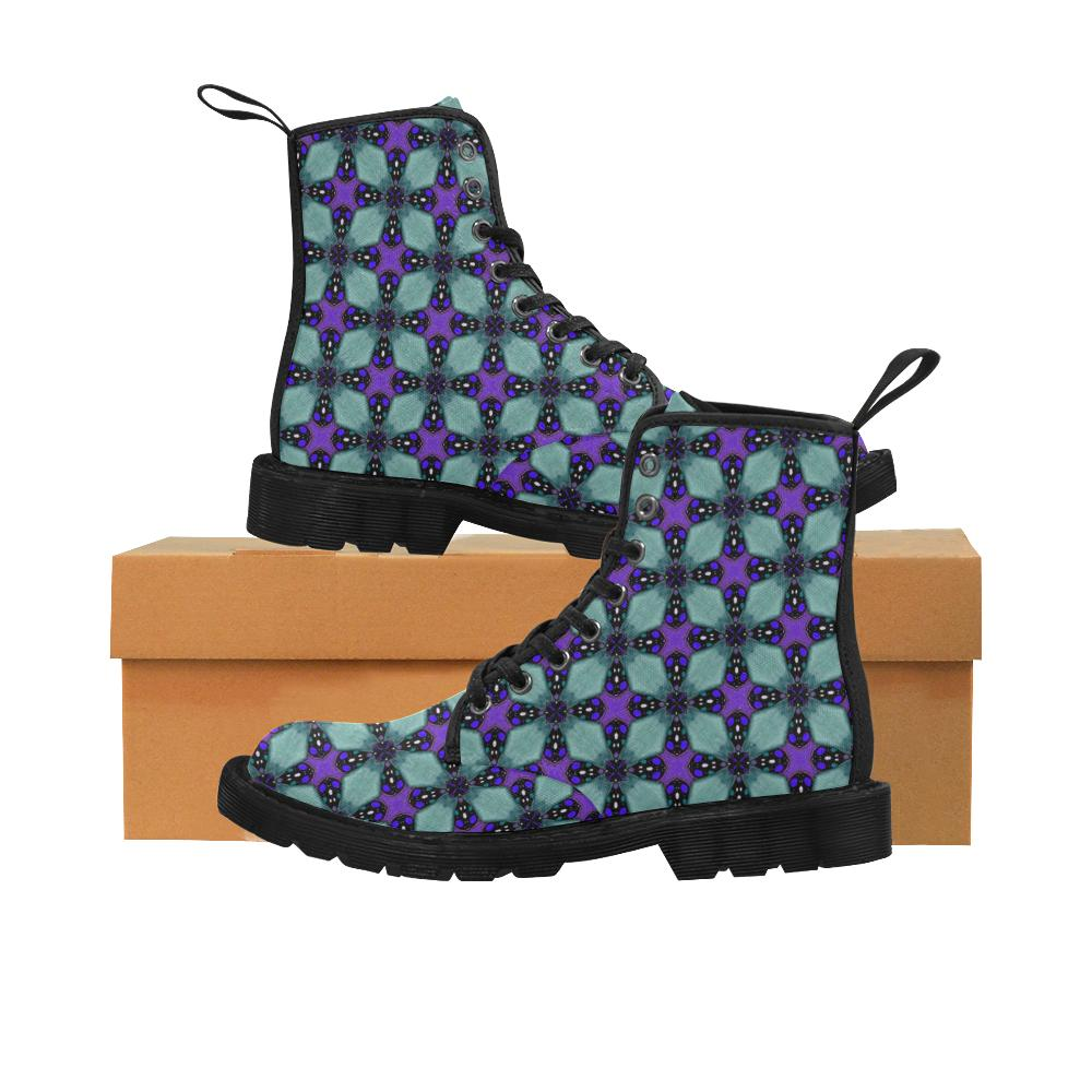 Women's Lace Up Canvas Boots In Turquoise and Purple