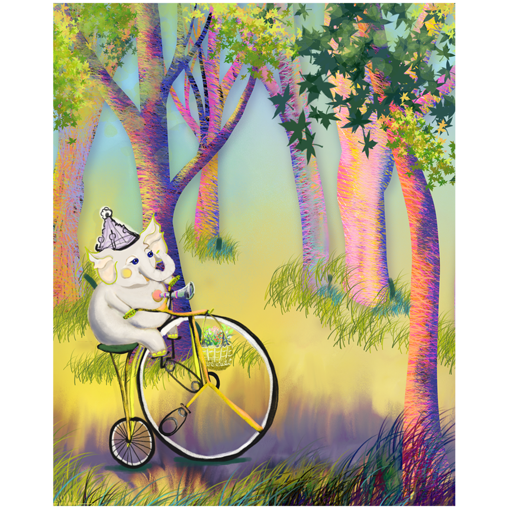 Baby Elephant Riding Vintage Bicycle Art Print 8x10 & 11x14 for Young Child Home Decor
