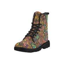 Load image into Gallery viewer, 'Pop of Paisley' Women's Lace Up Canvas Boots