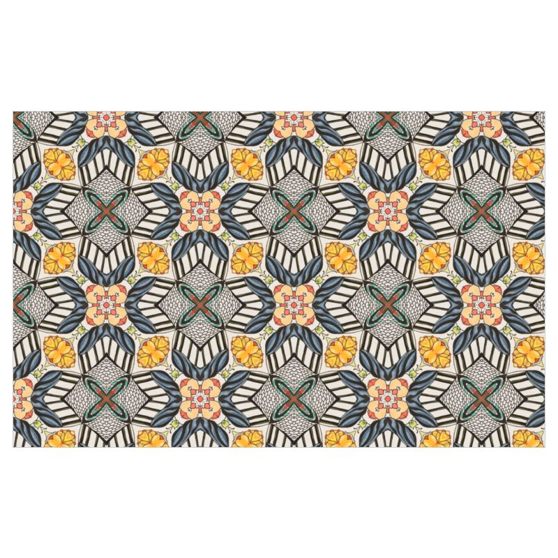 Organic Cotton Canvas Fabric by the Yard  - Golden Geometric Dec 420 Fabric 1 full width yard  - Large Scale Repeat Design