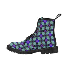 Load image into Gallery viewer, Women's Lace Up Canvas Boots In Turquoise and Purple