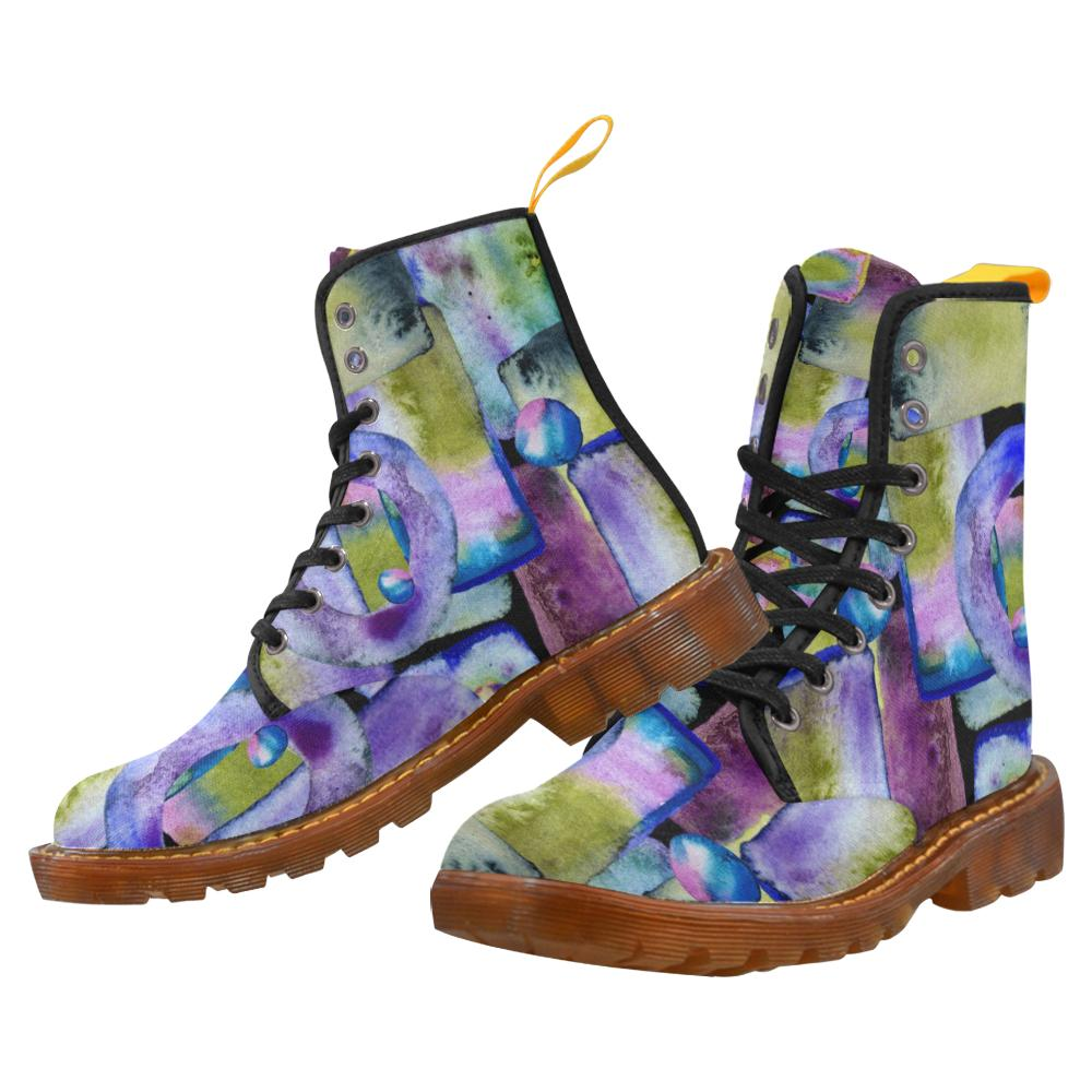 Women's Lace Up Canvas Boots in 'Shades of Abstract' Design