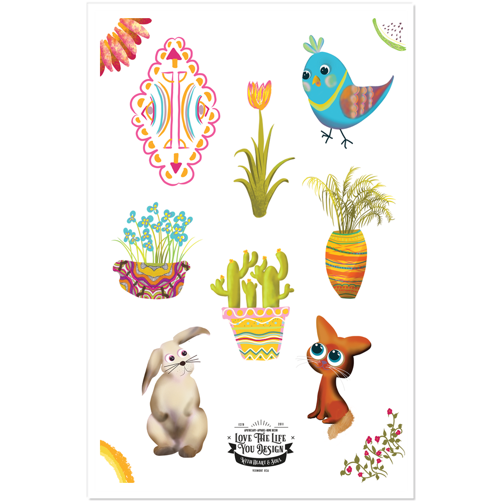 Spring Sticker Sheet: plants and young spring animals and cute little bird.