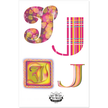 Load image into Gallery viewer, The Letter 'J' Sticker Set - 2 pages of 8 J Stickers in Beautiful Designed Fonts.
