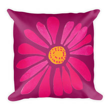 Load image into Gallery viewer, Pink Spring Daisy Square Pillow by Leah Quinn Design