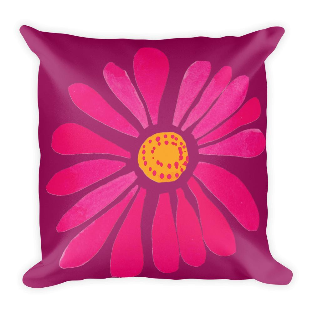 Pink Spring Daisy Square Pillow by Leah Quinn Design