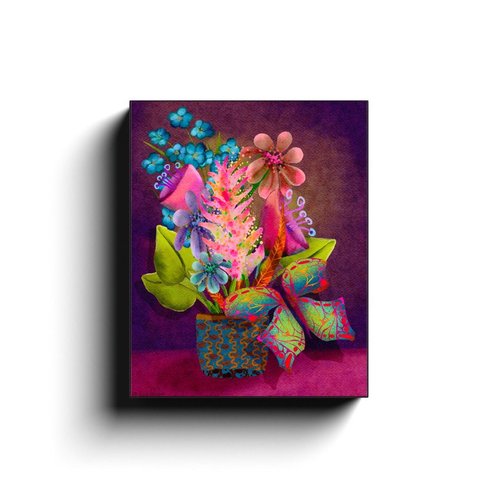Neon Floral Bouquet with Butterfly for Blacklight Wall Art on Canvas Wraps