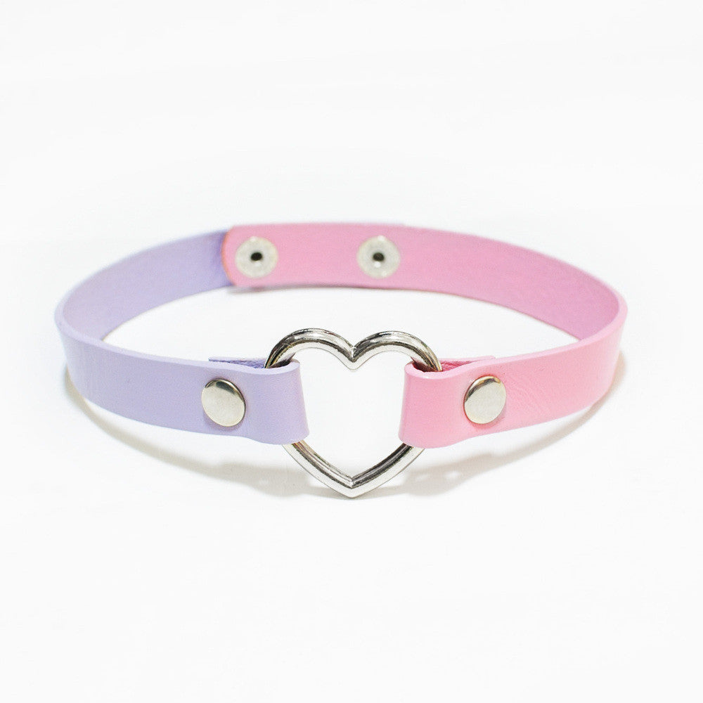 TWO-TONED HEART BONDAGE CHOKER