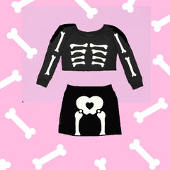 SKELETON ME MINI SKIRT SWEATSET