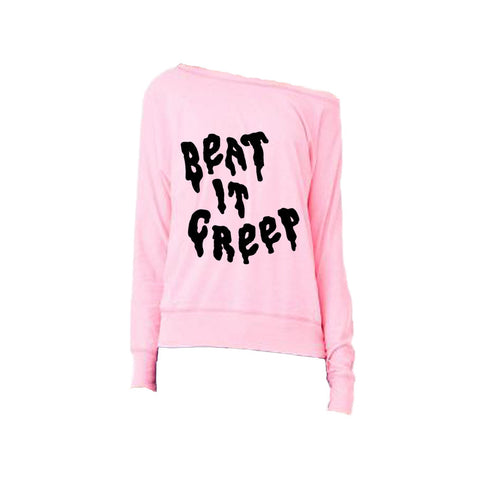 BEAT IT CREEP OFF THE SHOULDER SWEATSHIRT