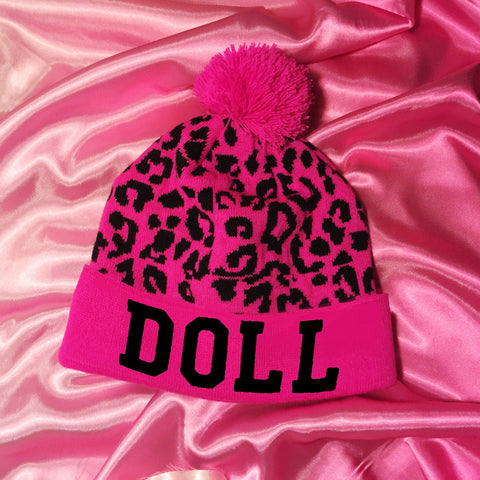 HOT PINK LEOPARD DOLLIDAY BEANIE