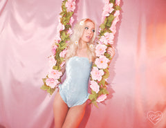 BABY BLUE VELVET RUFFLE ONE PIECE