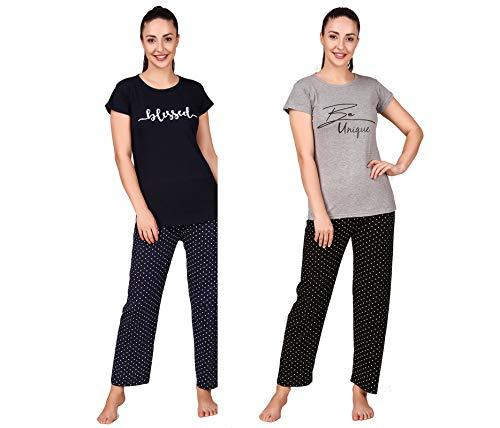 Women & Girl 100% Cotton Night Suit Sets Cotton Top and Pyjama Set Pack of 2