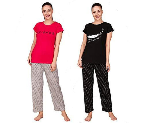 Women & Girl 100% Cotton Night Suit Sets Cotton Top and Pyjama