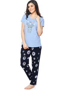 Women's Cotton Bubble Printed Stylish Night Suit Set