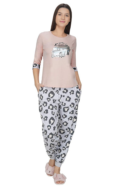 Women's Animal Print Multicolour Cotton Pajama Set/Night Suit/Night Dress/Night Pajama/Sleepwear/Lounge Wear/Nightwear for Women-(Medium