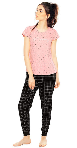 Women's Cotton Light Peach & Black Checks & Star Print Night Suit Set