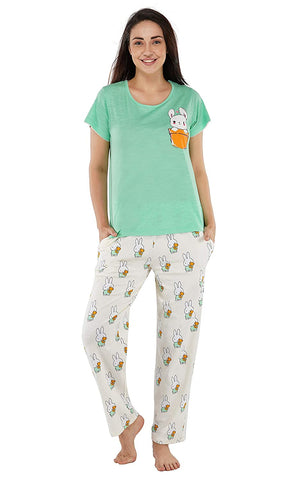 Women's Cotton Fruit/Bunny/Abstract Print Pajama Set