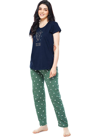 Women's Cotton Heart Printed Stylish Night Suit Set