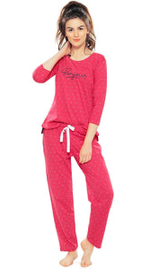 Women's Cotton Navy Blue & Cherry Pink Trinagle Print Night Suit Set
