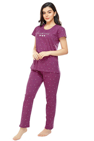 Women's Cotton Heart Print Stylish Night Suit Set