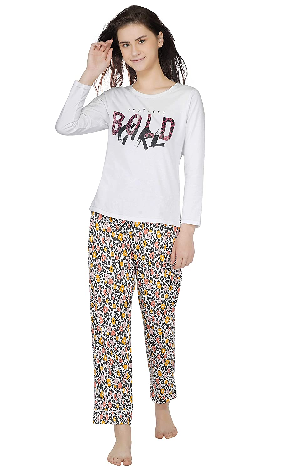 Women's Cotton Animal/Butterfly Print Pajama Set