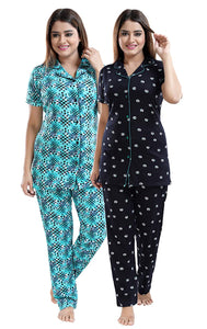Multicolored Cotton Women Shirt & Pyjama Night Suit Pack of 2