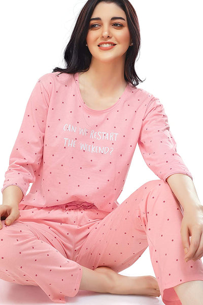Women's Cotton Dot Printed Stylish Night Suit Set