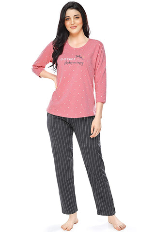 Women's Cotton Dot & Striped Printed Stylish Night Suit Set